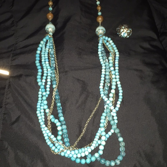 Jewelry - Turquoise colored Necklace and ring set